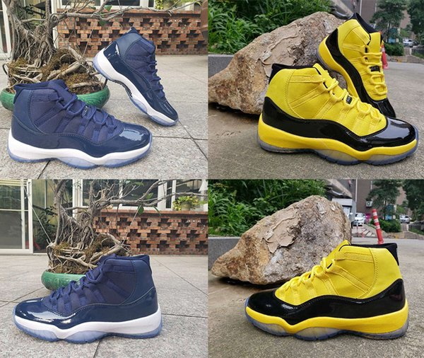 with box 2019 mens basketball shoes 11s yellow navy brand designer snake skin gym sneakers for men shoe low trainers size us7-us13