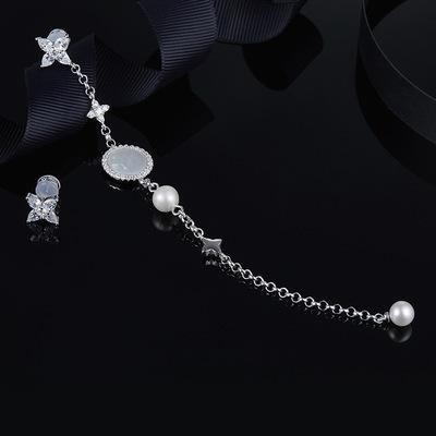 Wholesale- Asymmetric Long Earrings With Pearl And Mother Of Pearl