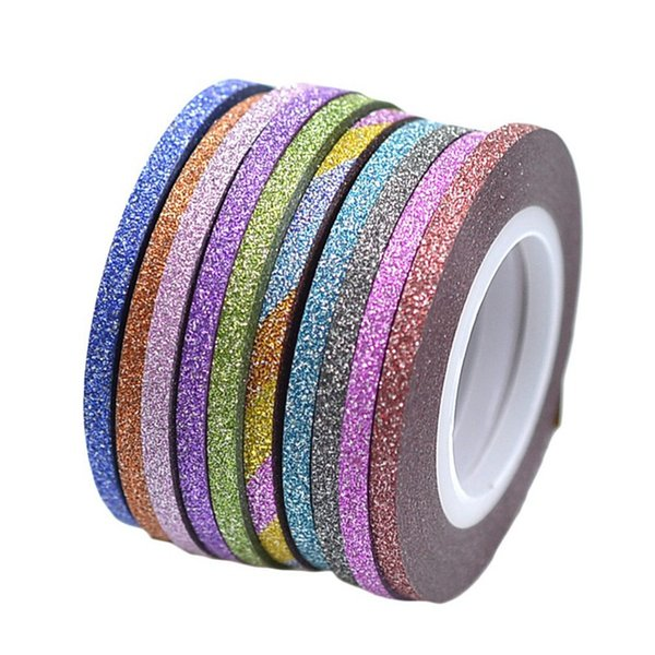 12pcs/set Gold/Silver Glitter Nail Art Striping Tape Line Sticker On Nails Art Decoration Multicolor Shining DIY Nail Tips 3mm