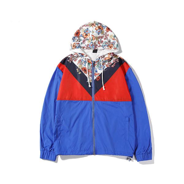 Lüks Erkek Ceketler Ceket Tasarımcı Kapüşonlu Ceket Erkekler Için Rüzgarlık Çiçek Desenleri Ile Antumn Marka Sportwear Erkek Giyim Toptan