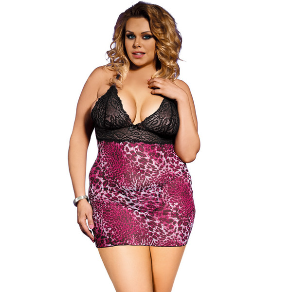 Sexy Underwear Sexy Gauze Nightdress Increase The Size Of The Fat Girl Leopard Grain European And American Netting Nightdress
