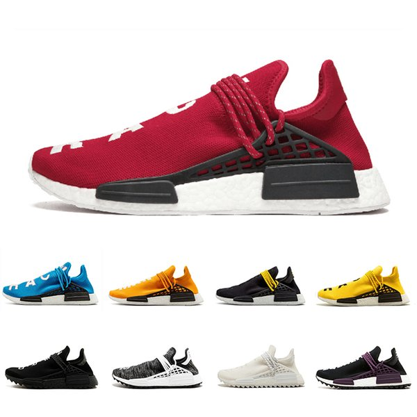 Red white Orange Human Race trail Running Shoes holi Core black Equality Men Women Pharrell Williams HU Runner Yellow sports runner sneakers