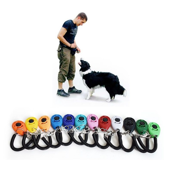 Pet Dog Training Click Clicker Agility Training Trainer Aid Dog Training Obedience Supplies with telescopic rope and hook Mix 12 Colors