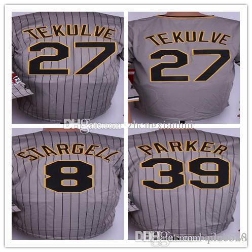 2018 New Mens 8 Stargell Majestic 24 Barry Bonds Baseball Jersey wholesale 27 Kent Tekulve 39 Dave Parker grey embroidery Baseball uniform