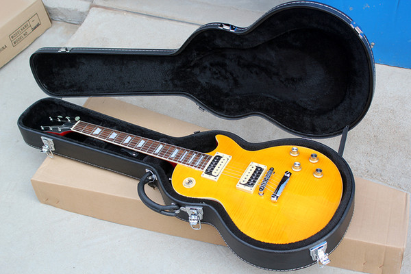 Factory Custom Yellow Electric Guitar With Black Hardcase,Flame Maple Veneer,Chrome Hardware,Can be Customized