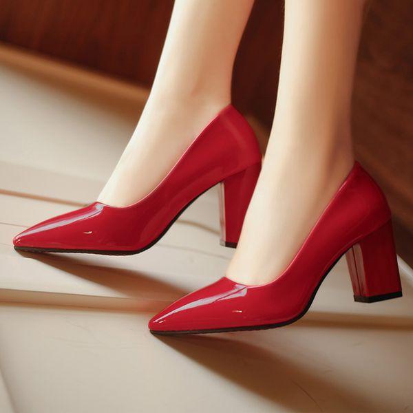 En cuir PU Femmes Parti Pompes 2019 5 Couleurs Chaussures De Mariage À Talons Hauts Simple OL Chaussures À Bout Pointu