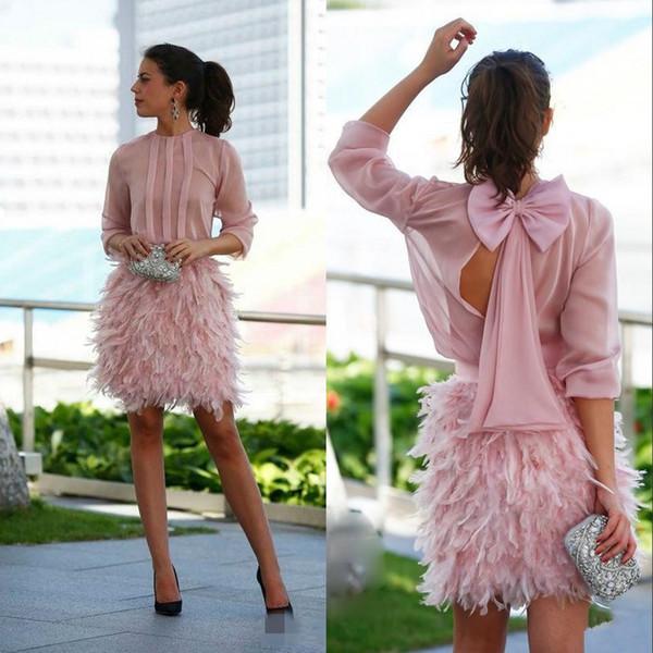 2019 vintage blush plume courte robes de bal Bown manches longues dos ouvert robes de soirée robes de soirée cocktail