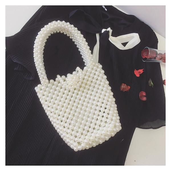 Pearls Beading Bags For Women Handbag Fashion Handmade Pearls Handbags Women Vintage Evening Party Bag Ladies Tote 2019