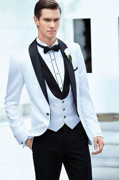 Sıcak Ceket Pantolon Tasarımları Beyaz + Siyah Erkekler Suit Slim Fit 3 Parça Smokin Damat Düğün Takımları Özel Balo Blazer (Ceket + Pantolon + Yelek)