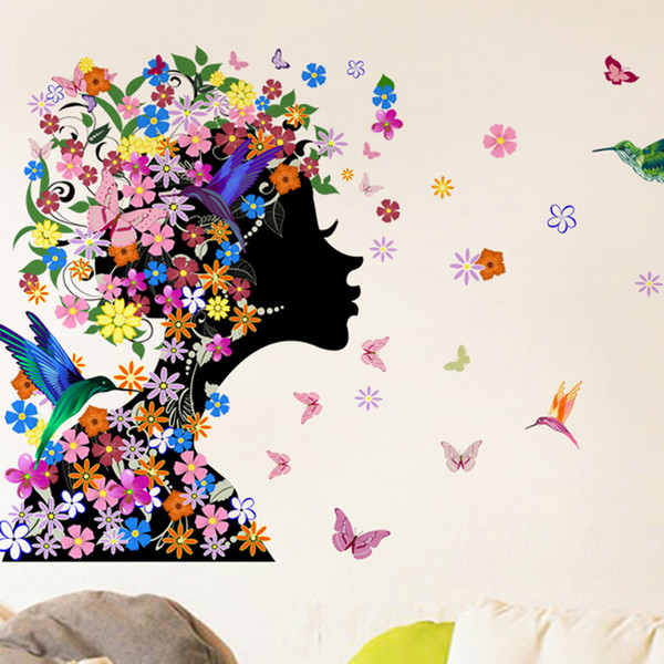 46x58cm 2016 Brand Butterflies Flower Fairy Girl Wall Sticker For Home Decorations Vinyl Decal Mural Art Kids Bedroom wholesale