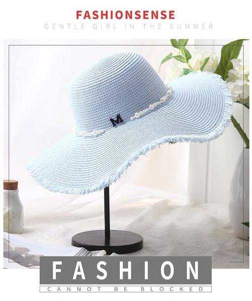 2019 simple été Chapeau De Plage De Paille Femme Casual Panama Chapeau Dame Marque Protection solaire pare-UV pliable