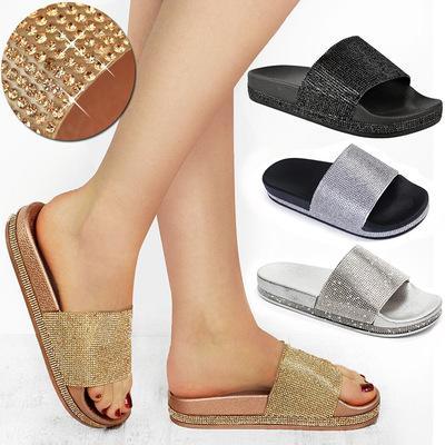 Summer Women Sparkling Crystal Slippers Rhinestone Bling Slides Flat Soft Home Flip Flops Female Shoes Beach Sandals