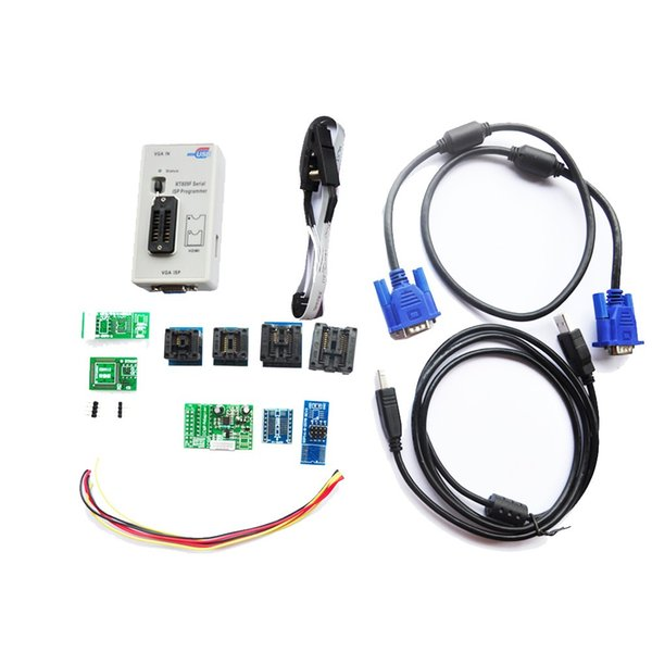 Freeshipping Newest RT809F LCD Serial ISP USB Programmer+8PCS adapters +SOP8 IC Test Clip + ICSP Board /ISP Cable Repair Laptop Tools