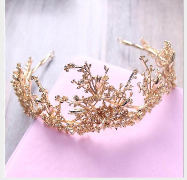 Princess Crown Golden Leaf Headdress Sposa Accessori per matrimoni Corona Ornamenti per capelli