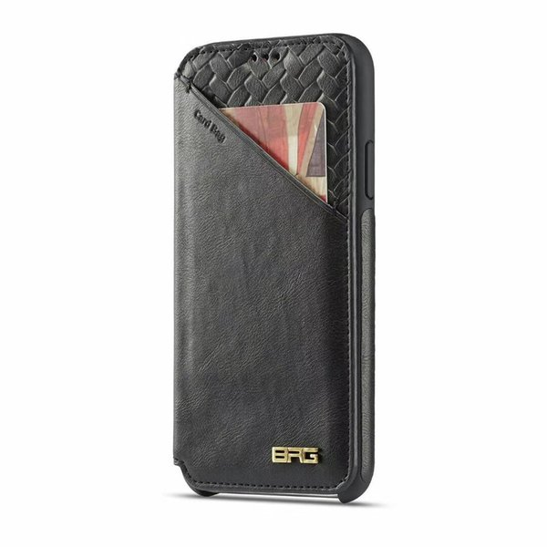 UltraThin Magnetic Braided Card Bag Flip Leather Wallet Pouch Clutch Stand Holster Protector High-end Phone Shell for iPhone XS Max XR 6s 15