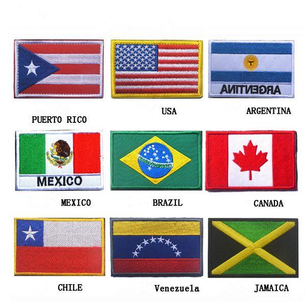 Американский национальный флаг Чили Пуэрто-Рико, Ямайка, Канада, Венесуэла, Мексика, Аргентина, флаг, значки, нарукавная повязка, вышивка, патчи