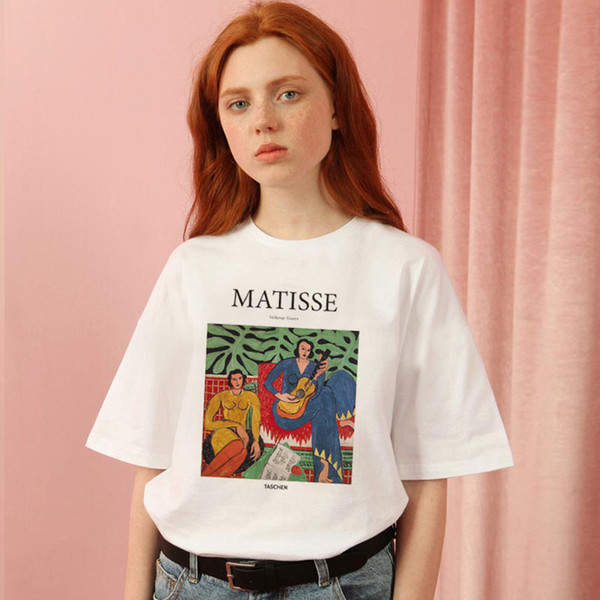 Matisse summer large size loose casual female short sleeve cartoon art print female tops fashion Harajuku new letter T-shirt