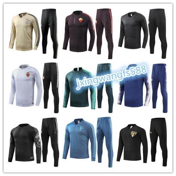 top quality 2018 2019 cheap adult long sleeve soccer training suit survetement 18 19 maillot de foot sweater Monaco football tracksuit