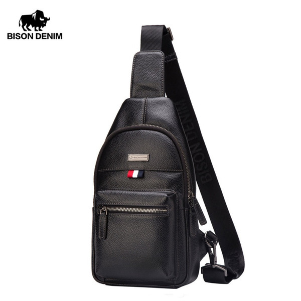 BISON DENIM luxury fashion brand men bag genuine leather crossbody men messenger bags casual cowhide chest bag