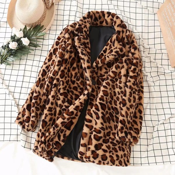 Warm Wool Fur Long Coat Women Leopard Print Button Long Sleeve Notched Loose Oversized Ladies Jackets Casual Winter 2019 Autumn