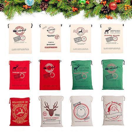 top popular 24 Styles Christmas Gift Bags Large Organic Heavy Canvas Bag Santa Sack Drawstring Bag With Reindeers Santa Claus Sack Bags for Kids 668 2019