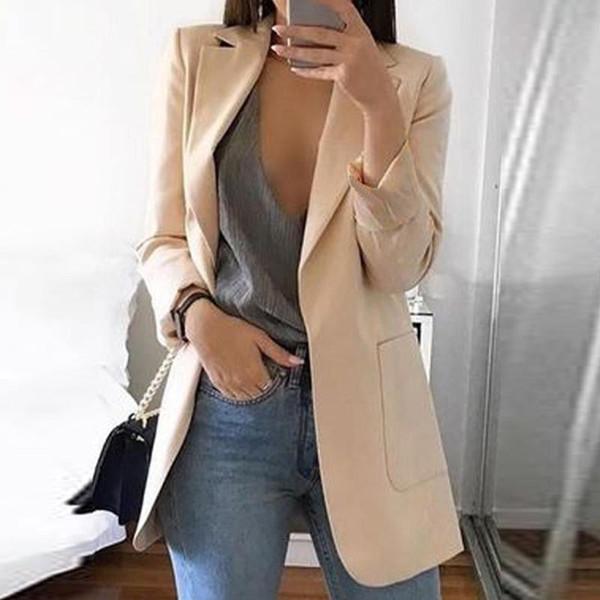 Blazer se adapta a las mujeres del otoño del otoño Chaquetas de color caqui Negro Chaquetas nuevas para las mujeres se adaptan al estilo europeo Slim Suit Hot Blazer