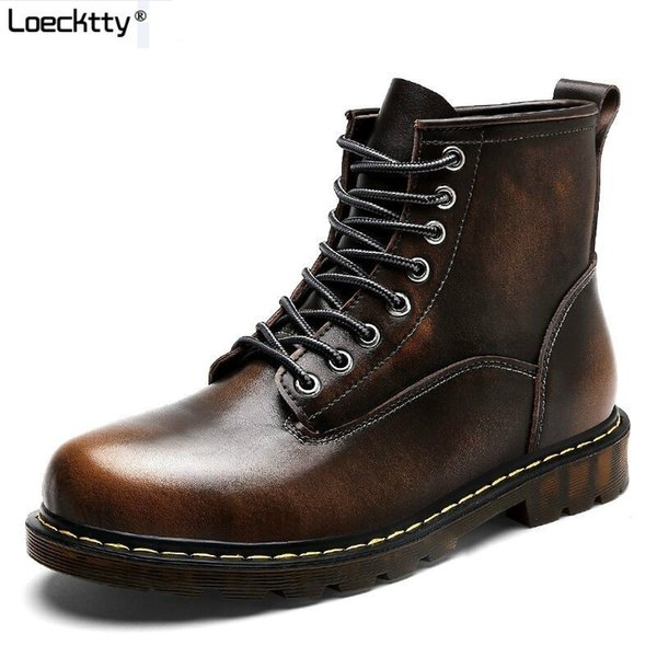 Loecktty 2019 Size38-46 Chunky Motorcycle Boots For Women Autumn 2018 Fashion Round Toe Lace-up Combat Martin Boots Ladies Shoes