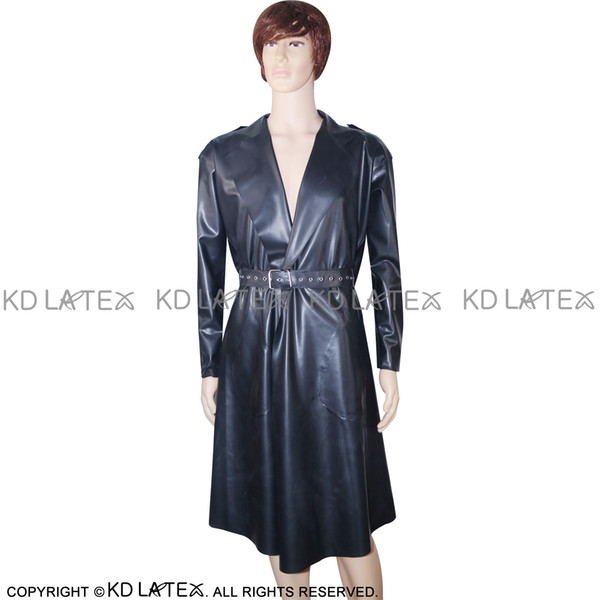 Black Sexy Latex Trench Coats With Belts Pockets Fetish Rubber Jacket Robe Plus Size Hot Sales YF-0027