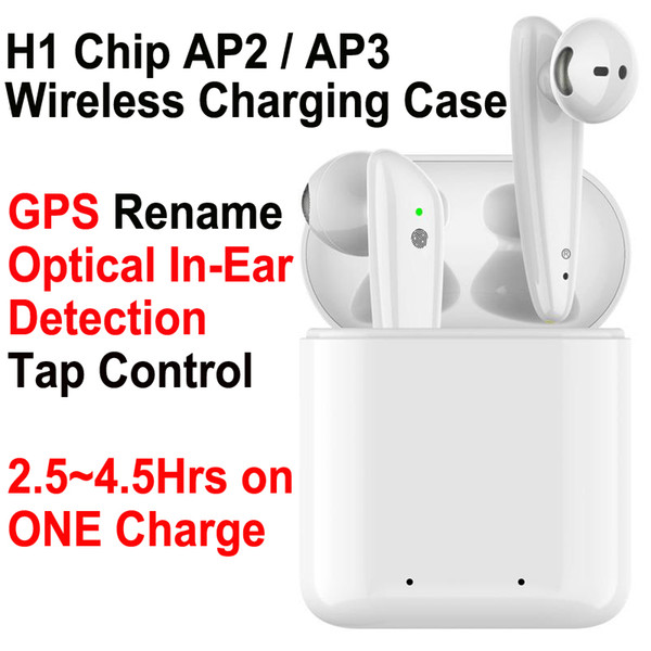gps rename ap2 ap3 mini tws bluetooth earbuds h1 chip wireless charging case air 2 3 pro optical in-ear detection pods pk i200 i12 i9 i500