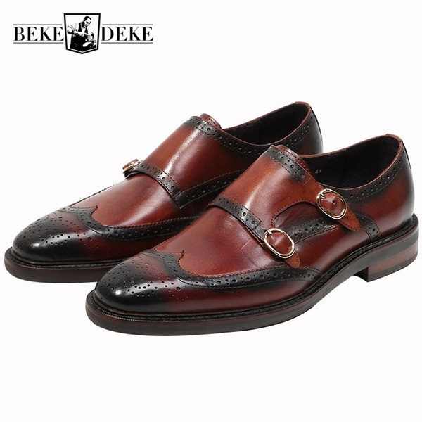 New Office Men Work Formal Brogues Monk Shoes Vintage Wing Tip  Cow Real Leather Wedding Dress Shoes Slip On Loafers Homme