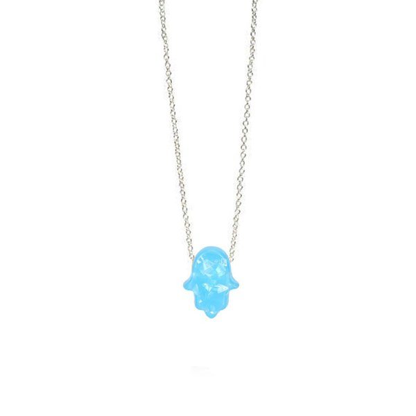 Fashion White Blue Opal Hamsa Necklace Link Chain Synthetic Palm Hand Pendant Necklace For Women Girls Best Gifts C