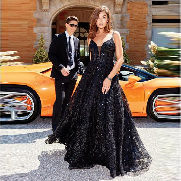 Vestidos festa Black Lace Sequins A-line Straps Open Back Prom Dress Lady Graduation Evening Party Wear Maxi Gown for Prom Lady Evening Gown