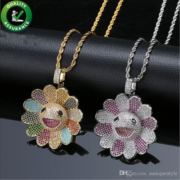 Hip Hop Jewelry Mens Gold Chain Pendants Designer Necklace Iced Out CZ Rotatable Sunflower Pendant Diamond Bling Luxury Pandora Style Charms