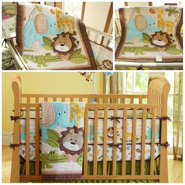 Baby Crib Bedding Sets Cute 4pcs One Kit Printed Animal Elephants Monkeys Child Bed Textile Suit New Arrival 209dhE1