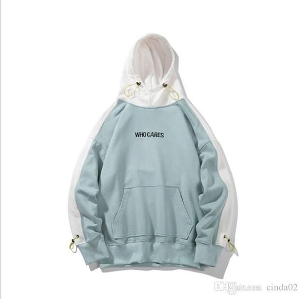 Sweats Homme Nouvelle WhoCares Lettre Imprimer Automne Hip-Hop Sweat Streetwear Survêtement Couple Harajuku ciel chandail à capuchon bleu