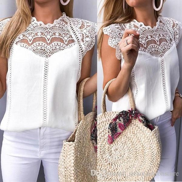 Moda Kadınlar Tops Dantel Kollu Hollow Yaka Şifon Gömlek Kolsuz Bluz Casual Tank Tops T-Shirt Slim Fit Gömlek