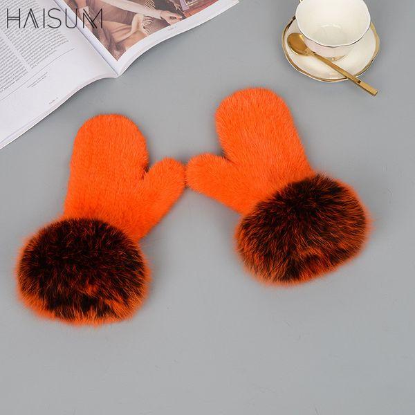 Female mink gloves color bare fingers winter warm fur mink hair hand-made fox hai MZ101