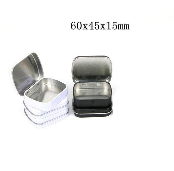 2019 Новый 60 * 47 * 15 мм Мини Жестяной Коробке Небольшой Пустой Белый Черный Металлический Ящик Для Хранения Case Организатор Для Денег Монета Конфеты Ключи