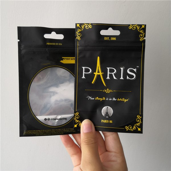 best selling 3.5g Paris OG Smell Proof Bags paris og Child Proof Bag Stand Up Pouch Dry Herb Flowers free shipping