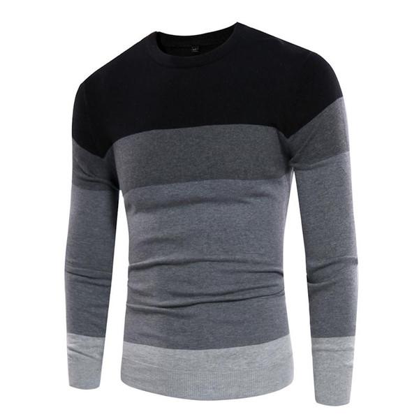 2019 Sweater Men Casual Pullover Outono em torno do pescoço dos retalhos Qualidade Homens Pull malha Homme Masculino suéteres de cashmere