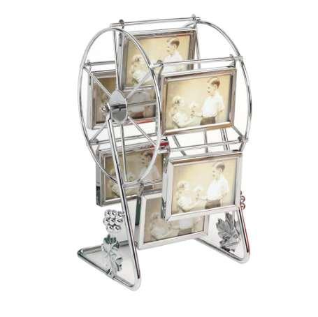 Rotating Ferris Wheel Picture Frame Vintage DIY Keepsake Windmill Photo Frame New Year Gift for Family Home Decor (Silver)