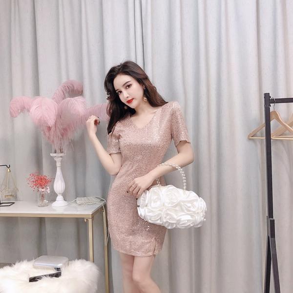 New Korean Summer 2019 Sexy Women Clothing Nightclub Wear V-neck short-sleeved Sequined Party Beach Dress Splitting Short Skirt QC0161
