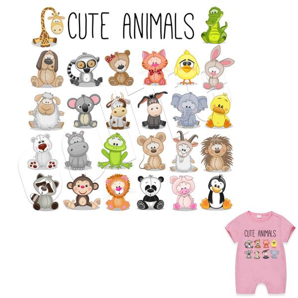 Cartoon Set animaux Correctifs bricolage accessoires Autocollants caloporteurs pour les vêtements Easy Print Par fers à repasser ménages Fournir Custom Design gratuit