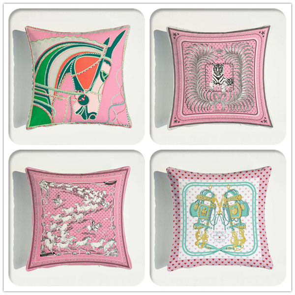 best selling Animals Pattern Pink Velvet Throw Pillow Cushion Cover Car Decor Home Decoration Sofa Decorative Pillowcase