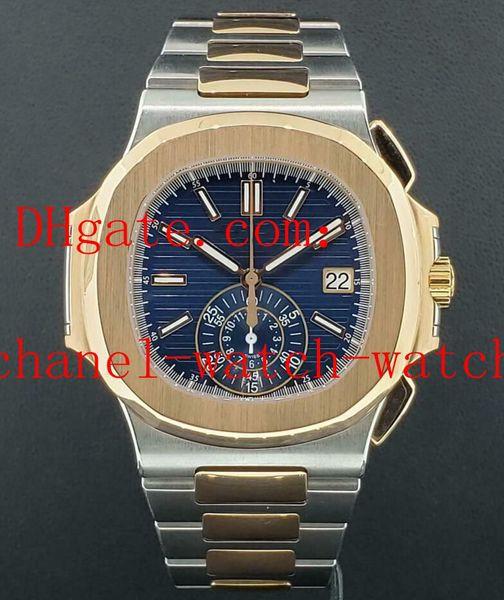 Kostenloser Versand-automatische mechanische Uhr Nautilus 5980 / 1AR-001 Stahl 18 Karat Roségold Blau Dial Mens Sportuhren