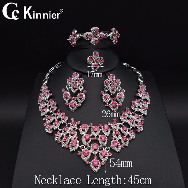 Dubai Red Color Wedding Jewelry Sets Bridal African Beads Necklace