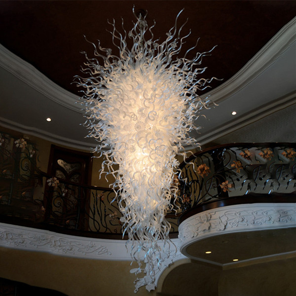 best selling White Glass Chandelier Lighting 110-240V LED Pendant Light Hand Blown Glass Hanging Chandelier Lights for Stair Dining Room Home Decoration