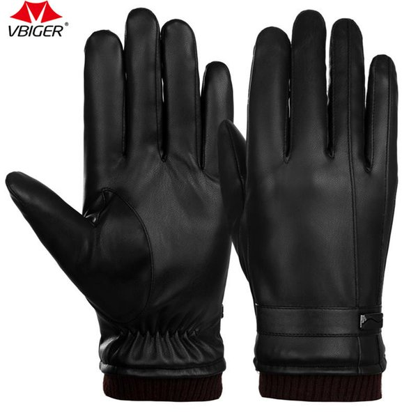 Vbiger Men PU Leather Touch Screen Gloves Winter Warm Gloves Thick Warm Cycling Mittens Sports Gloves for Men Black
