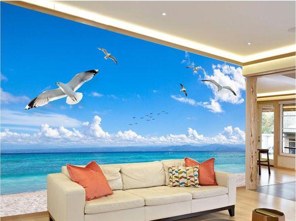 WDBH 3d duvar kağıdı özel fotoğraf Modern minimalist deniz manzara mavi gökyüzü oturma odası ev dekor duvarlar için 3d duvar kağıdı duvar kağıdı 3 d