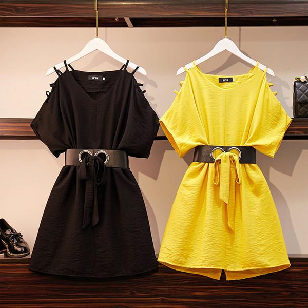 XL женское платье с потерянными плечами 2019 лето новая толстая сестра летучая мышь рукав свободная юбка юбка 200 кг